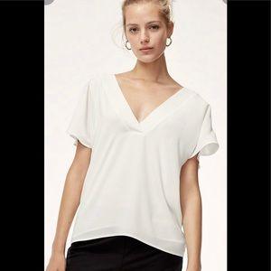 Babaton Jacobo cream v-neck blouse. Size small